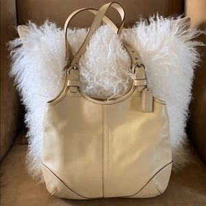 Coach Nude Leather Handle Bag with Dustbag